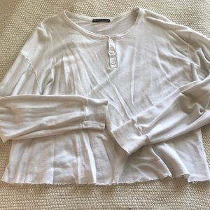 Brandy Melville white button tee